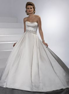Ball gown satin sleeveless bridal gown