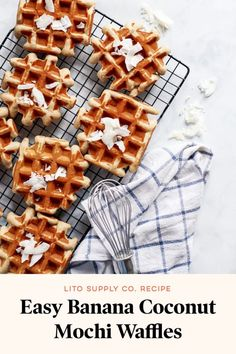 Easy Banana Coconut Mochi Waffles You gonna love this! Easy Banana Coconut Mochi Waffles instead for a tasty, easy breakfast. You can also freeze them and then toast them for breakfast on the go. Get the recipe