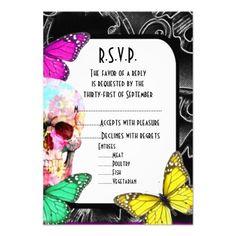 Gothic Wedding Invitations Fantasy gothic skull black wedding R.S.V.P Card