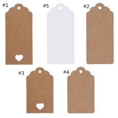 50//100Pcs Kraft Paper Gift Tags Card Label Gift Luggage Decoration Free Strings