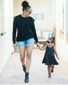 Tamera Mowry and daughter Ariah. Mother and daughter love and style!