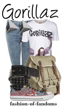 """Gorillaz"" by fofandoms ❤ liked on Polyvore featuring Miss Selfridge, House of the Gods, Mossimo Supply Co., Vans, Converse, women's clothing, women, female, woman and misses"