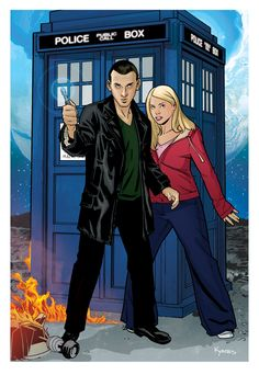 I already had the Doctor illustration finished, but I decided to tweak the design and add Rose. Doctor and Rose Doctor Who Poster, Doctor Who Comics, Doctor Who Tv, Ninth Doctor, Doctor Who Fan Art, Police, Doctor Whooves, Christopher Eccleston, Female Doctor