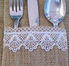 Burlap & Lace Utensil Holder  ***Rustic wedding decor, Birthday, Shabby Chic Design***