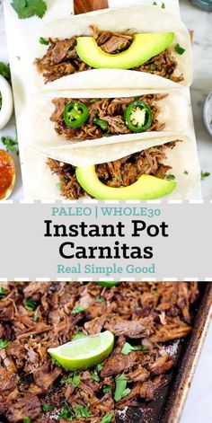 Instant pot carnitas pork shoulder or butt, 1 medium onion, 6 cloves garlic, 3/4 cup fresh squeezed orange juice (about 1/4 cup fresh squeezed limes 1 tbsp cumin 1 tbsp chili powder 2 tsp oregano  2 tsp salt 1 tsp chipotle powder 2 tbsp ghee ( cooking oil): romaine lettuce cilantro avocado jalapenos, lime wedges