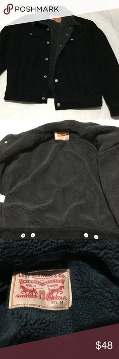 "Levi's Men Trucker Jacket Black Corduroy Pre-Owned. Worn twice ,No holes or stains Excellent condition    **Please check the measurements,some clothes are may not run true the size View measures by Our team.**      SIZE: M  .Shoulder (Back side):19""   .Bust/Chest Under armpit ( around):42""   .Sleeve:26""    .Length (high):26""   NOTE: .5"" MEAN A HALF INCH = ½""   -SKU:3406 Levi's Jackets & Coats"