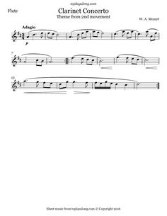 Clarinet Concerto 2nd mvt. (Theme) by Mozart. Free sheet music for flute. Visit toplayalong.com and get access to hundreds of scores for flute with backing tracks to playalong.
