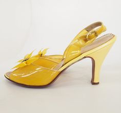 50s Clear Yellow Sling Back High Heel Shoes with by denisebrain