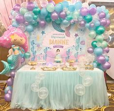 New Baby Shower Girl Theme Mermaid Center Pieces Ideas Mermaid Theme Birthday, Little Mermaid Birthday, Little Mermaid Parties, Mermaid Party Decorations, Birthday Decorations, Party Kulissen, Party Ideas, Theme Ideas, Baby Girl Shower Themes