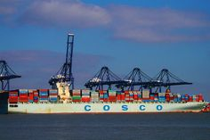 Shipping containers on the Cosco Asia.
