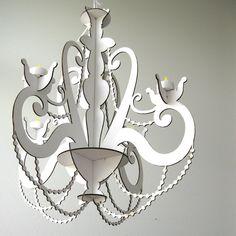 Tea Light White Cardboard Chandelier Lighting by FabParlor on Etsy