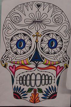 Los dias de los muertos thema godsdienst verbonden in verdriet Day of the Dead Symmetrical Sugar Skull Drawings- Middle School Elementary Art Rooms, Art Lessons Elementary, High School Art, Middle School Art, Sugar Skull Art, Sugar Skulls, 7th Grade Art, Art Loft, Art Education Lessons