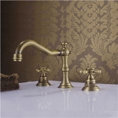 (In Stock)Antique Sink Faucet Brass Finish Widespread Bathroom Sink Faucet