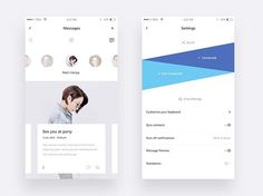White & Blue messages app. We always see the same experience on the messages app would love a design like this!