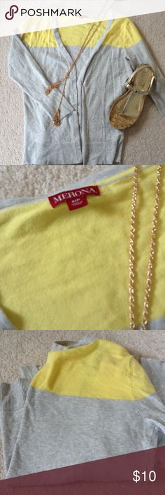 Merona gray yellow cardigan sweater S NWOT button Cute Merona cardigan NWOT, gray with yellow accent. Slight stretch. Button front,  3/4 sleeves. Lightweight 92% cotton, 6% nylon, 2% spandex. Accessories not included. Merona Sweaters Cardigans