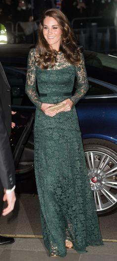 Catherine, Duchess of Cambridge attends The Portrait Gala 2017 at the National Portrait Gallery on March 28, 2017 in London, England. (Photo by Samir Hussein/WireImage)  via @AOL_Lifestyle Read more: https://www.aol.com/article/lifestyle/2017/03/28/gorgeous-green-kate-middleton-gala-lace-gown/22015951/?a_dgi=aolshare_pinterest#fullscreen