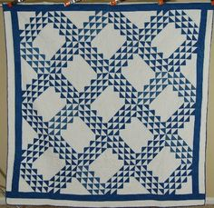 72in x 74in. GORGEOUS Vintage 1880's Blue & White Ocean Waves Antique Quilt  A Classic!