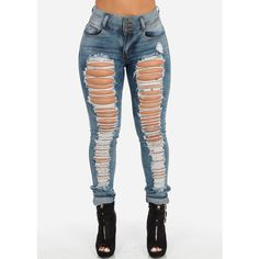 High Waisted Ripped Skinny Jeans (Light Wash) found on Polyvore featuring polyvore, women's fashion, clothing, jeans, pants, bottoms, skinny jeans, light wash distressed skinny jeans, denim skinny jeans and high waisted distressed skinny jeans