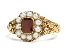 Pearl and garnet ring, probably English, c. Within the warmth of antique gold a rectangular cut garnet settles in repose amidst the embrace of a rub over pinched collet as a surround of natural half pearls exposes a lustrous inner light. Jewelry Box, Jewelry Rings, Fine Jewelry, Jewelry Making, Antique Gold, Antique Jewelry, Vintage Jewelry, Garnet Jewelry, Silver Jewelry
