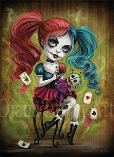 Last Laugh by Ghoulish Bunny Studios (Diana Levin) , Harley Quinn with voodoo Joker doll  | Lost My Puddin' (♦Harley Quinn♦)