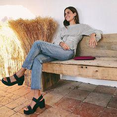 Gala Gonzalez wearing Pedro Garcia Style: Decima / obi satin midi platform | Autumn-Winter 2017