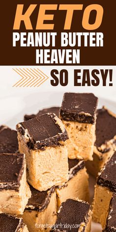 Keto Chocolate Peanut Butter Heaven is a heavenly keto peanut butter dessert recipe! Only 1g net carbs per generous piece! This yummy keto dessert will hit the spot with its creamy peanut butter base and keto chocolate topping. Also doubles as a keto fat bomb thanks to 12g fat per piece! Peanut Butter Dessert Recipes, Low Carb Peanut Butter, Sugar Free Desserts, Ketogenic Desserts, Diet Desserts, Keto Snacks, Ketogenic Diet, Low Carb Deserts, Low Carb Sweets