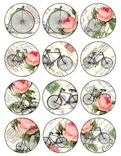 bikes and roses Vintage Printable Tags Digital Collage Sheet large circle images… Vintage Tags, Images Vintage, Vintage Labels, Vintage Prints, Vintage Retro, Vintage Roses, Decoupage Vintage, Decoupage Paper, Printable Images
