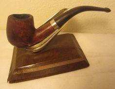 Vintage Full Bent Billiard Estate Briar Tobacco Smoking Pipe With 14K Gold Band