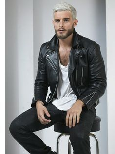 Normally I don't like that tone of hair for young guys, but it looks great in this rocker/biker style