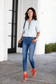button down shirt with jeans