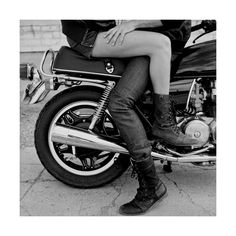Couple, Motorcycle, Black And White Photography found on Polyvore