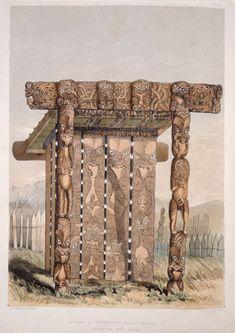Shows intricately carved mausoleum (papatupapaku), about 12 or 14 feet high, in which the body would have been placed. Ohm Tattoo, Polynesian People, Maori People, Best Friends Sister, Maori Designs, Maori Art, Bone Carving, Ancient Architecture, Native Art