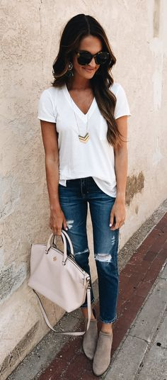 #fall #outfits women's white v-neck t-shirt and blue distress denim stone-wash jeans outfit