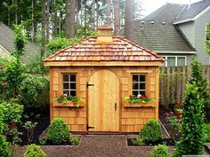 Exterior  Fresh Garden With Wooden Storage Shed Plus Decorative Brown Pebble Surrounded By Wooden Fence Backyard Storage Sheds Plans for Your Garden