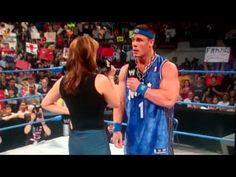 Stephanie Mcmahon has ass tapped by John cena