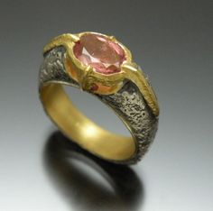 jewelry image of Vetus Design - 22 karat and 925 silver set with a natural oval pink tourmaline and completed with a distressed surface and  lined with 22k comfort