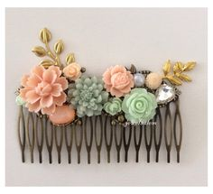 Peach Mint Wedding Hair Comb Bridal Hair Slide Headpiece Bridesmaid Gift Pastel Green Soft Orange Floral Gold Leaf Shabby Chic Woodland