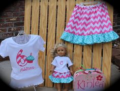 Girl's Birthday Outfit... Twirl Skirt with Appliqued Shirt and Matching Doll outfit...Fits AMERICAN GIRLS. on Etsy, $48.50