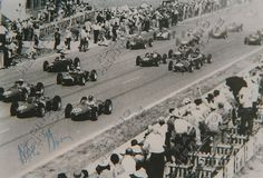 Racing Heritage Autographs South African racing driver Mike Harris autographed image of the 1963 SAGP in the Cooper T53  Price $35