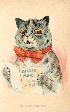 The Cat's Concert, United Kingdom, year unknown, by Louis Wain. Cute Little Kittens, Cats And Kittens, Cute Cats, Crazy Cat Lady, Crazy Cats, Maurice Careme, Louis Wain Cats, Here Kitty Kitty, Vintage Cat