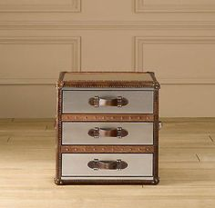 Suzie: Storage Furniture   Mayfair Steamer Cube With Drawers Brushed Steel  | Trunks | Restoration