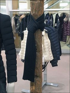 If overcoats and other outerwear obscure, try tying your scarf on nearby props for more exposed merchandising. Scarf Knots, Close Up, Tie, Gallery, Coat, Jackets, Fashion, Down Jackets, Moda