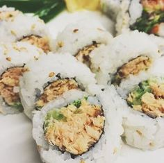 """ALASKAN ROLL:  Perfect combination of slowly smoked salmon with cucumbers, scallion, and mayonnaise brings one specific customer coming back for 2-3 rolls at a time saying """"I can only get these here at Windy's""""!  