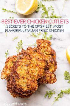 Chicken Cutlet Recipes, Breaded Chicken Cutlets, Baked Chicken, Healthy Dinner Recipes, Cooking Recipes, Delicious Recipes, Tasty, Italian Pasta Recipes, Italian Dinners