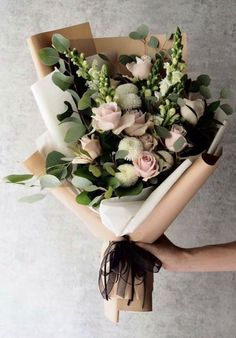 24 Best Floral Shop Ideas - fancydecors - Handheld bouquet of flowers with lots of eucalyptus and rannunculus and whites and pinks - Amazing Flowers, Fresh Flowers, Beautiful Flowers, Spring Flowers, Romantic Flowers, Simple Flowers, Simply Beautiful, Beautiful Pictures, Wedding Bouquets