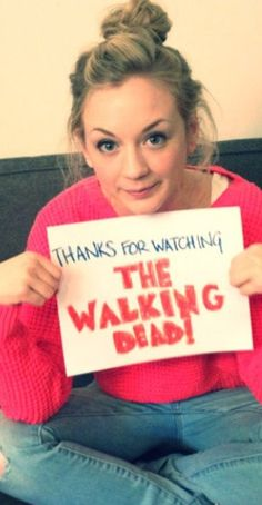 """""""Dear all The Walking Dead fans, Thank you so much for watching the show! Without all the support and amazing feedback on the show, I wouldn't be who I am today! I've met so many great actors and actresses that will forever be in my heart and I will love always! I love you all so much and I wish I could just show up at your house and give you a big hug!! (That's not stalker-ish is it?)""""  Awwwww-Beth!!!"""