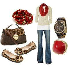 Leopard!!! Love the red infinity scarf and cute flats! I'd go w/o the scarf, tho... Not a big watch girl