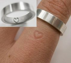 "Totally a girly thing to post but I think its romantic ""This is the perfect wedding ring. For the long time you will wear it, the heart will permanently leave a mark on the finger and even without the ring, the heart will always be a symbol of eternal love."""