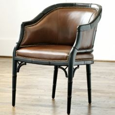 Marena Upholstered Leather Chair | Ballard Designs- Perfect desk chair for me