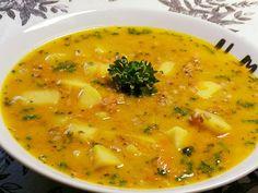 Drožďová s těstovinami Bon Appetit, Cheeseburger Chowder, Curry, Paleo, Ethnic Recipes, Diabetes, Drink, Chemistry, Red Peppers